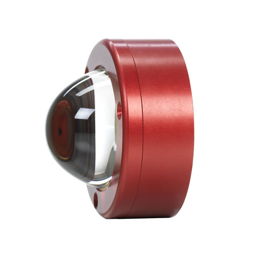 Side profile view of a Liquid Lumens Pipeline Underwater Light with red anodized finish