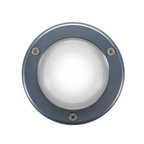 Front view of Liquid Lumens underwater lights with gun metal gray anodized housing