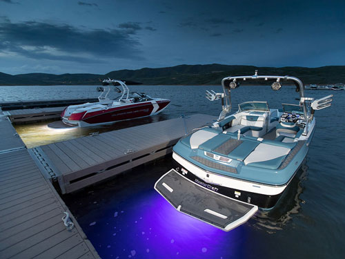 Mastercraft and Nautique Boats With Liquid Lumens Underwater Lights