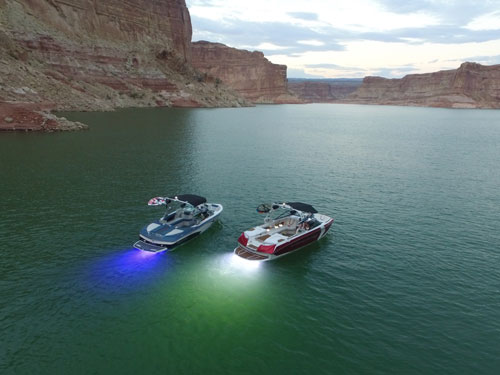 Mastercraft and Nautique Boats At Lake Powell With Blue And White Liquid Lumens Underwater Lights